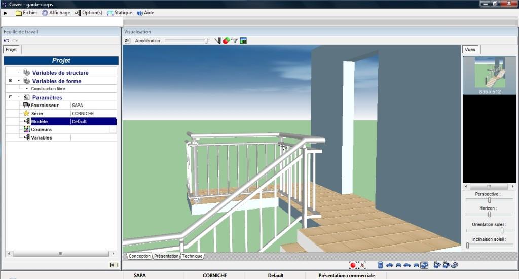 Logiciel pour garde-corps, balustrades et clôtures